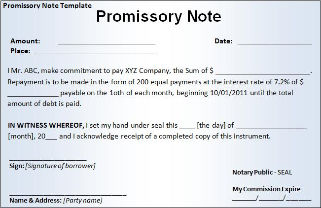 Free Printable Promissory Note Template - Promissory note with interest template